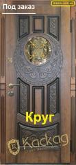 "Двери со стеклом Круг (патина) ""Каскад"""